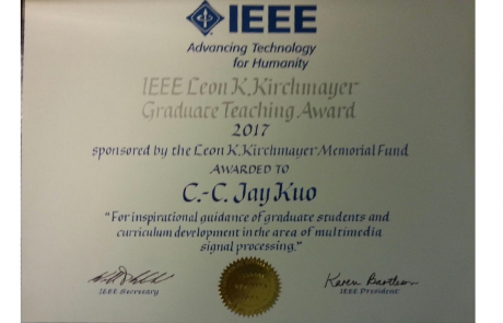 Congratulations to Professor Kuo for Receiving the 2017 IEEE Leon K. Kirchmayer Graduate Teaching Award
