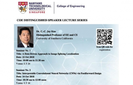 MCL Director, Dr. C.-C. Jay Kuo, Delivered Distinguished Lectures in Singapore