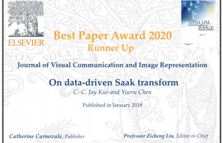 Saak transform paper received 2020 JVCI best paper runner-up (2nd place) award